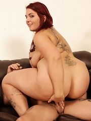 She gives our stud a hot messy blowjob and then gets her pussy stuffed with big hard cock.