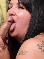 Fat cute brunette milks the sack of a married guy on his wifes birthday party