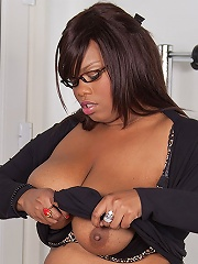 Gorgeous black BBW gets bossy with a job candidate and has him pound her deep holes