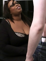 Black BBW boss with a gorgeous body and a lovely face seduces a shy job applicant