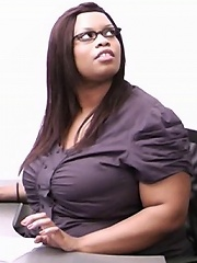 Gorgeous black fattie teases boss with her curves and breaks up his engagement
